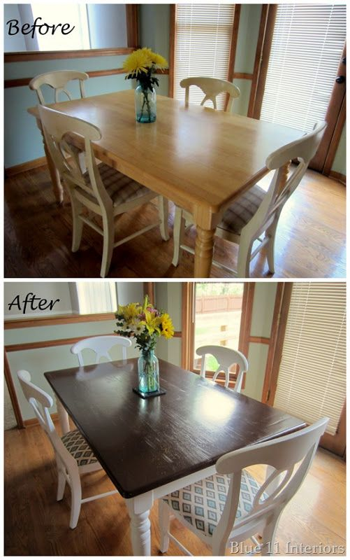 Dining Table Makeover: Before and After Dark top with light white legs. Love this look!!