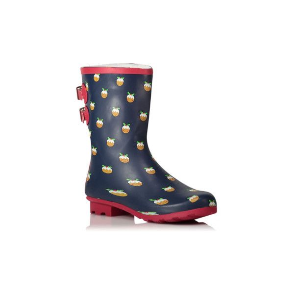 George Christmas Pudding Wellington Boots ($16) ❤ liked on Polyvore featuring shoes, boots, blue, wellies boots, lined rubber boots, lined rain boots, rain boots and blue rain boots