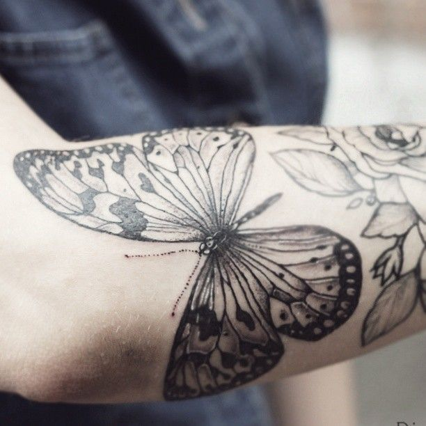 butterfly and flowers -- diana severinenko
