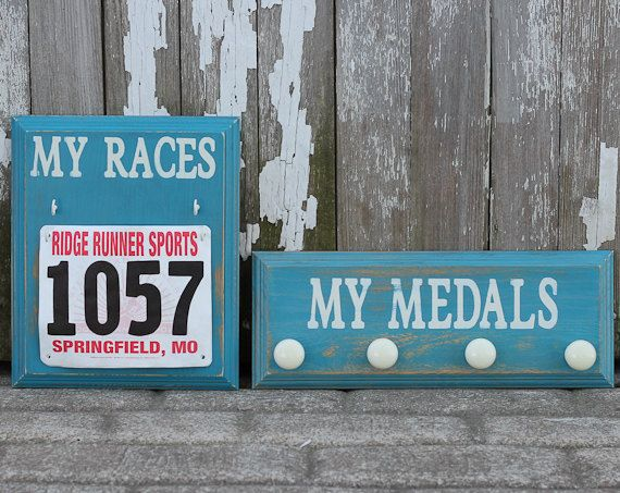 Medal+Holder+Display+and+Race+Bib+Rack+by+StrutYourStuffSignCo,+$52.50