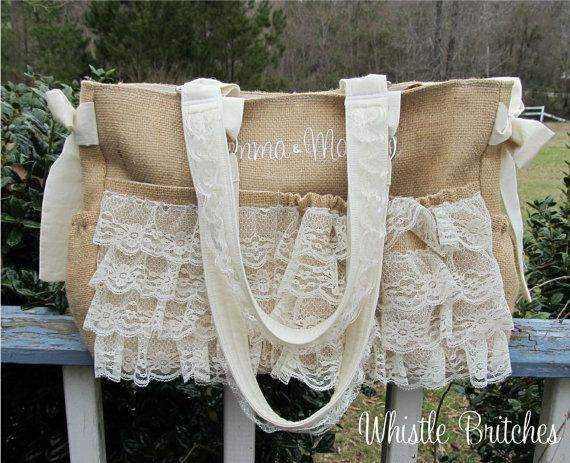 Custom Diaper Bag XL Deluxe Handmade Boutique Burlap and Lace Baby Shabby Chic Natural 10 Pockets Baby Girl Nappy Western Tan Cream Rustic on Etsy, $135.00