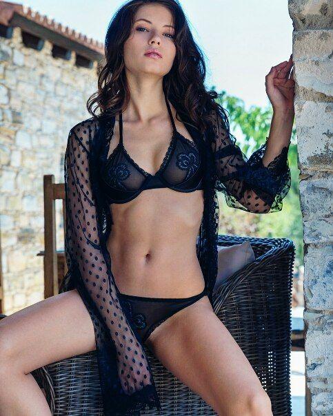 Petite Brunette Model Viktoriia Aliko In Sexy Black Lingerie