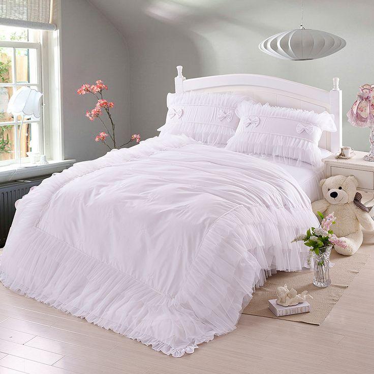 白クイーンベッド- Aliexpress.com経由、中国 白クイーンベッド 供給者 ... 王女チュール装飾4 ピース寝具セット用女の子クイーン サイズ布団カバー ベッド スカート枕