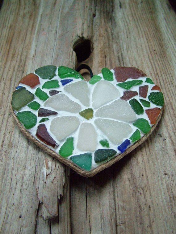 Sea Glass Heart Mosaic. $35.00, via Etsy.