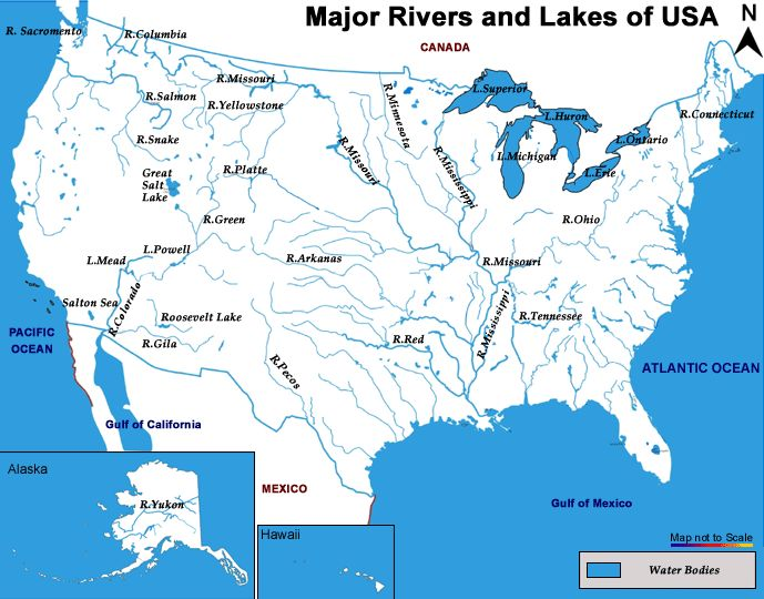 Lakes And Rivers Of The United States Map WorkRelated Resources - Usa lake map