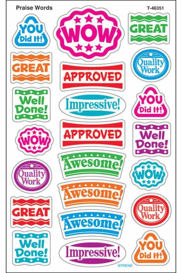 176 Praise Words superShapes Teacher Reward Stickers - Large - Sticker Stocker