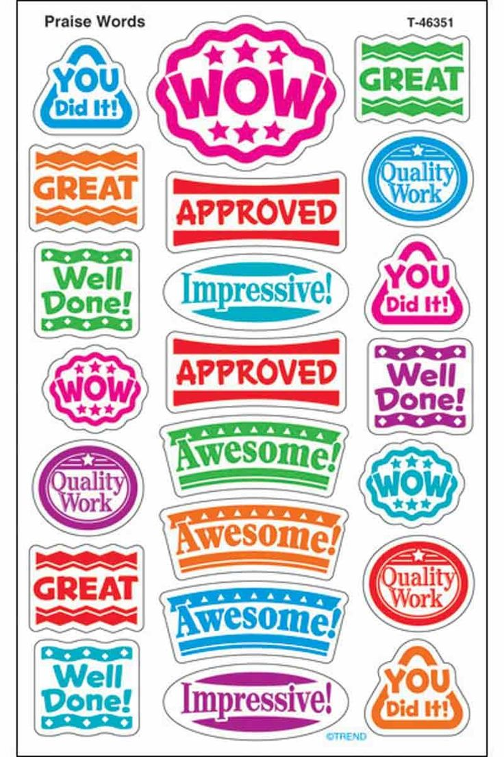 176 Praise Words superShapes Teacher Reward Stickers - Large - Sticker Stocker