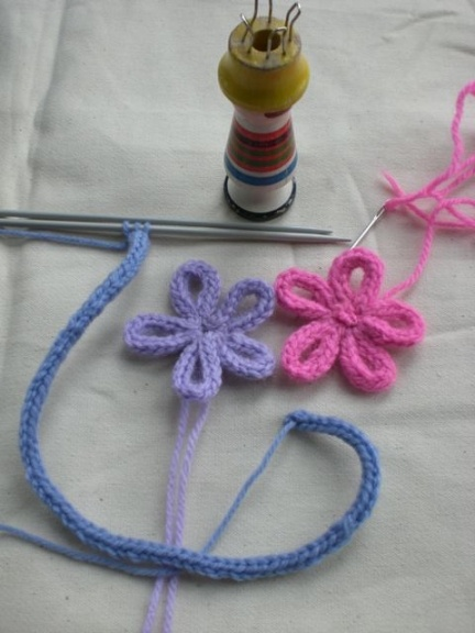 Flowers made from i-cord/French knitting