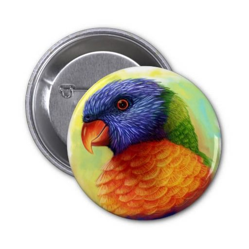 Rainbow lorikeet parrot button. Available also in different button shape and size. #rainbowlorikeet #bird #lorikeet #parrot #Trichoglossushaematodus #painting #petportrait #realism #colorful #drawing #lori #realistic #avian #zazzle #petopet #emmil #thomas #deviantart #merchandise #sale #parrots #birds #button #buttons #pin #pins
