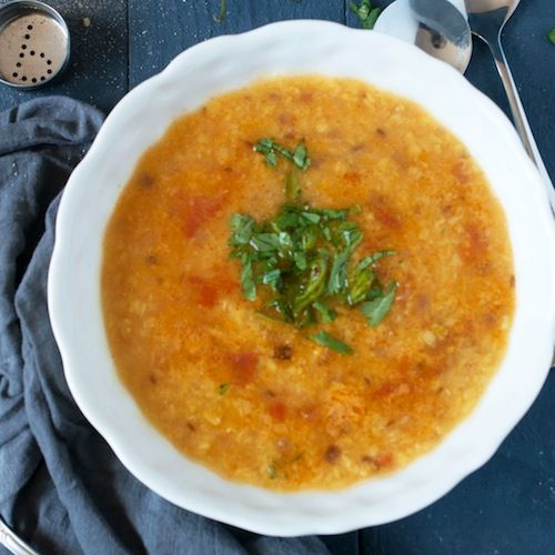 Monica's Indian Express: Simple Moong Dal - halved serrano chili to keep it mild for the kids, used veggie broth in place of water, yellow split peas instead of mung beans. Hearty and flavorful without being too intense for young undeveloped palates.