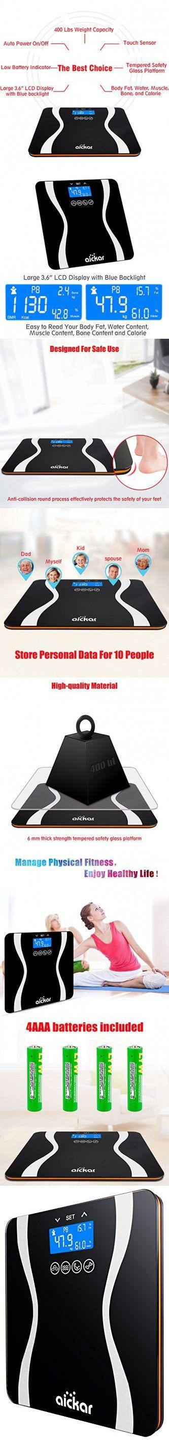 Aickar Bathroom Scale 400 Lbs Capacity Bathroom Scale Measures Weight, Body Fat, Water, & Bone Mass Body Weight Scale Digital Body Weight Scale