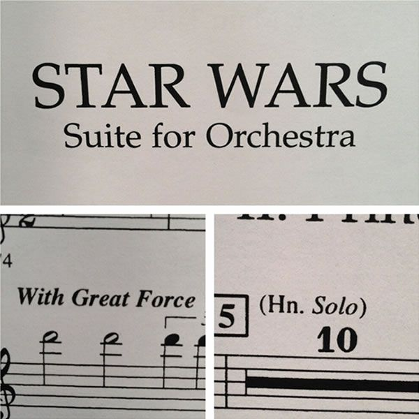 Star Wars Suite for Orchestra - Ooh, that sneaky John Williams! The composer snuck in some playful references in the sheet music for Star Wars Suite for Orchestra.