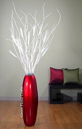 red lacquer cylinder vase and white birch branches