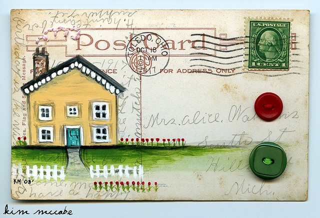 altered postcard! A nice way to preserve an old postcard . . . 'home is where our story begins' #handmade