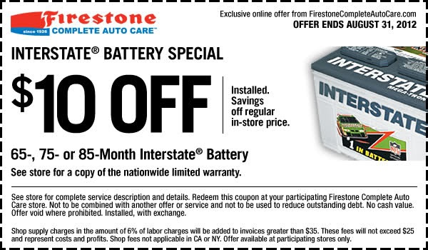 Get $10 Off Interstate Batteries In-store Printable Firestone Coupon