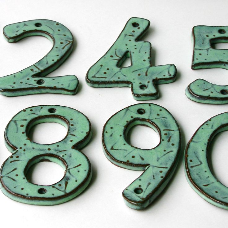 Modern House Numbers Set Of 3 In Aqua Mist Color