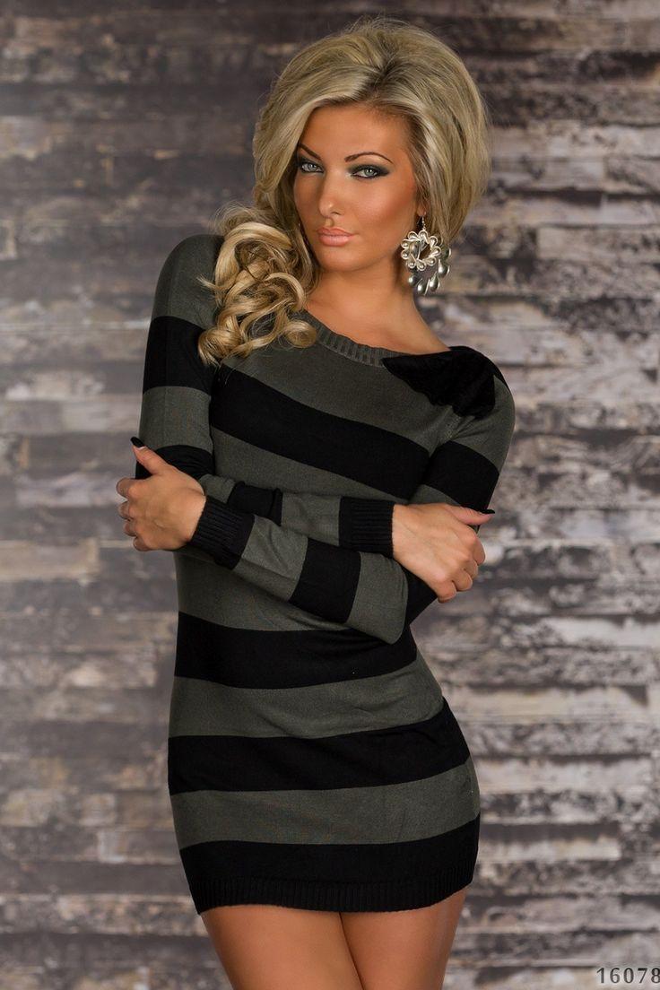 Woman Dress with stripes,longsleeves. www.24eshop.gr