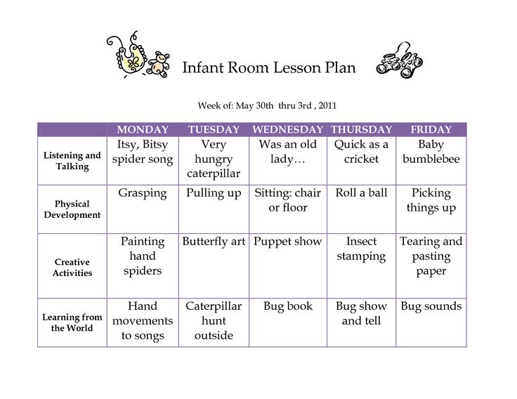 Creative Curriculum Blank Lesson Plan | JUNE 2011 Infant Curriculum - Westlake Childcare