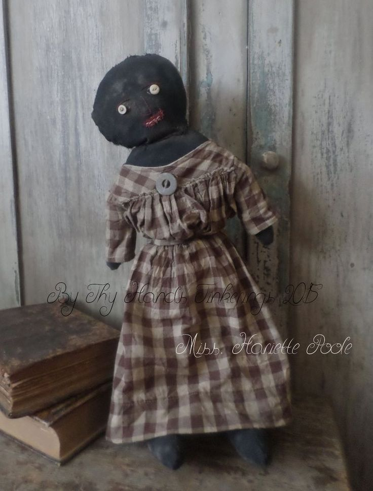 Primitive Black Folk Art Doll w/ Early Straw Stuffed Dog #NaivePrimitive #Artist