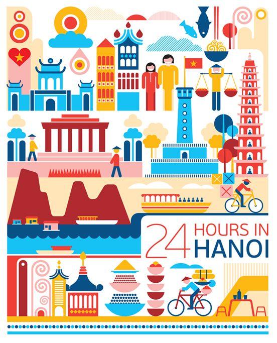 24 Hours in Hanoi, Vietnam.  Illustration by Fernando Volken Togni