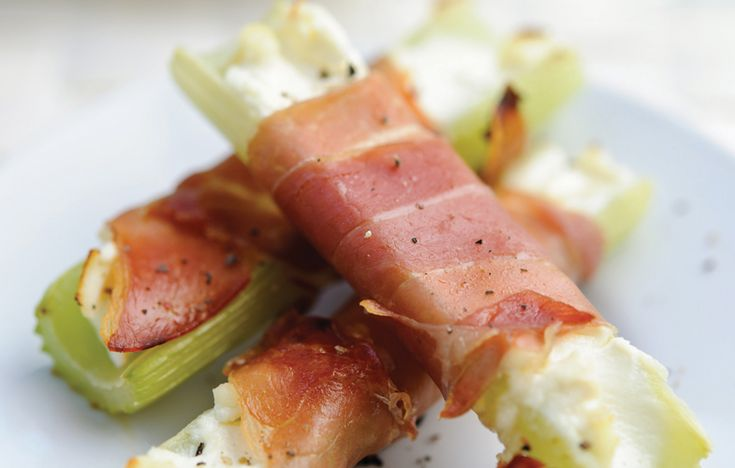 Snack: Celery and Parma ham wraps