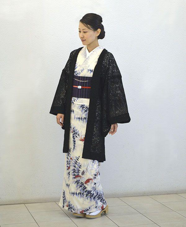 羽織 レースの花畑 オフ白 - 加花 KAHANA