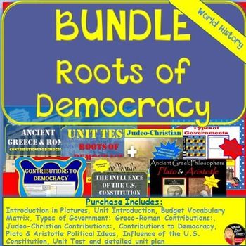 SAVE $$$ !!! This BUNDLE of products includes everything you will need to teach the unit: Roots of Democracy in your secondary World History class. By purchasing the bundle you will automatically save 20% off of each product.