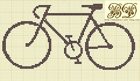 Bicycle cross-stitch pattern to make into an ornament.