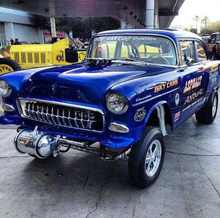 '55 Chevy Gasser. Cool Corvette grille teeth!