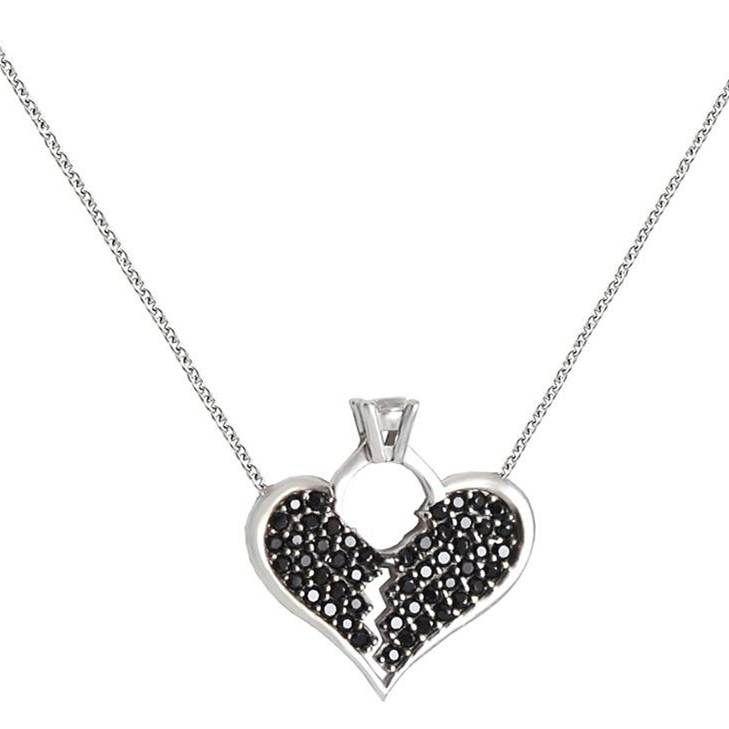 ES184 Ασημένιο κολιέ με ραγισμένη καρδιά με μαύρες πέτρες