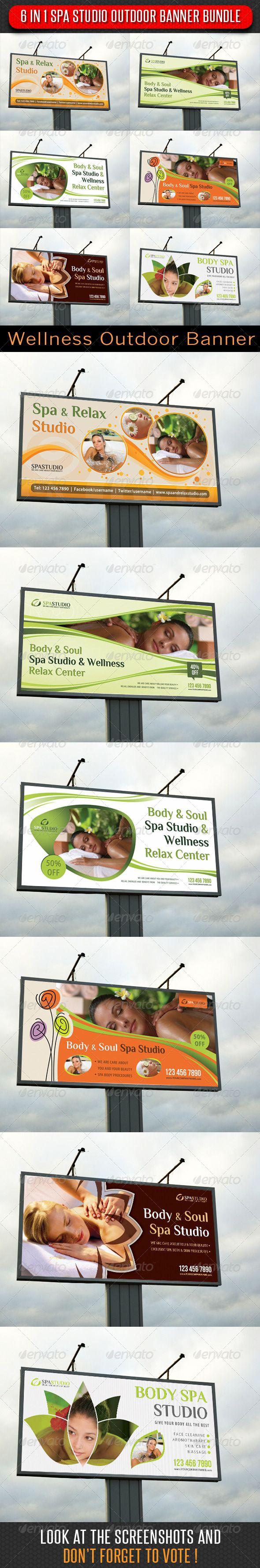 6 in 1 Spa Studio Outdoor Billboard Banner Bundle Template PSD. Download here: http://graphicriver.net/item/6-in-1-spa-studio-outdoor-banner-bundle/6359271?s_rank=299&ref=yinkira