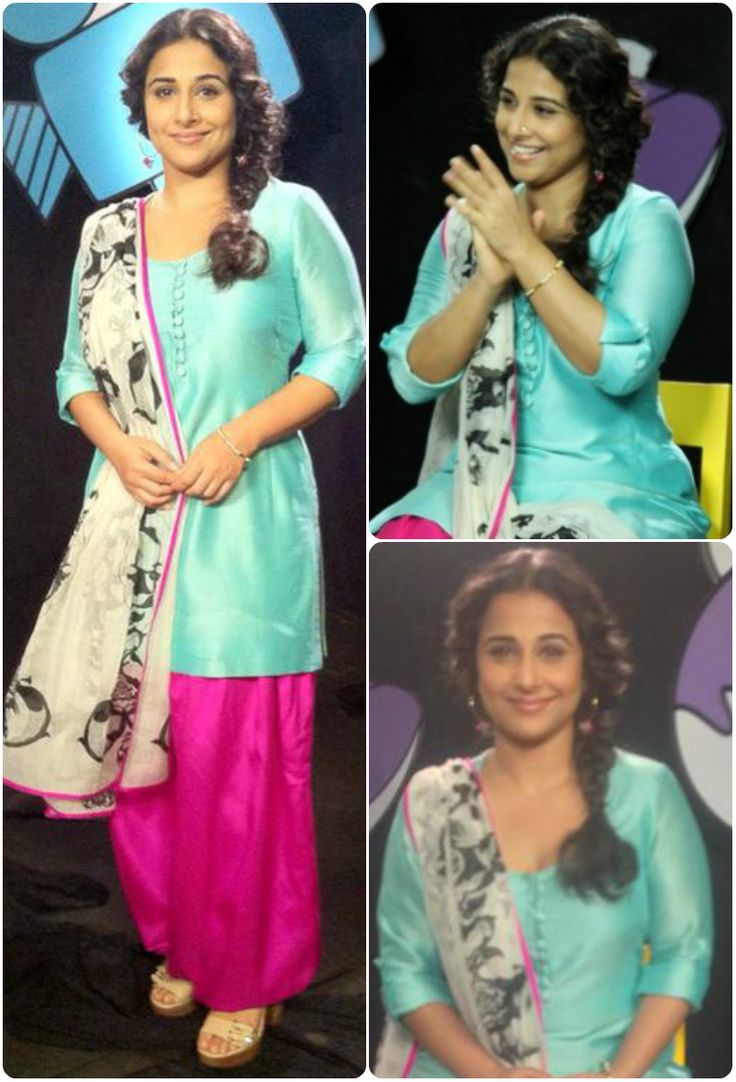 Vidya Balan was spotted on the sets of Disney's Captain Tiao to promote Bobby Jasoos. She wore an aqua blue kurta with a pink patiala salwar along with a Charbagh printed silk mul dupatta. The outfit was designed by Payal Singhal.