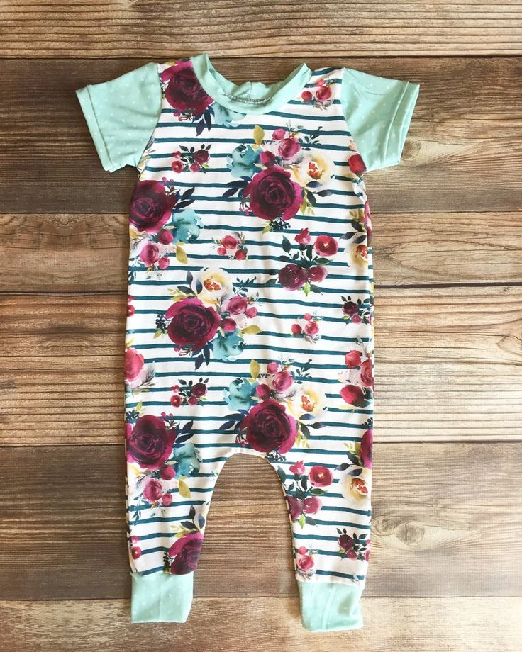 Floral Stripe Coverall Romper, Girl Romper, Girl Coverall, Girl Outfit, Baby Outfit, Newborn Outfit, Baby Romper, Baby Clothes, Baby Shower Gift