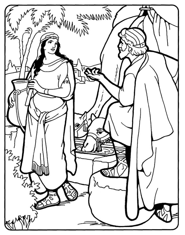 isaac and rebekah coloring pages - photo#25
