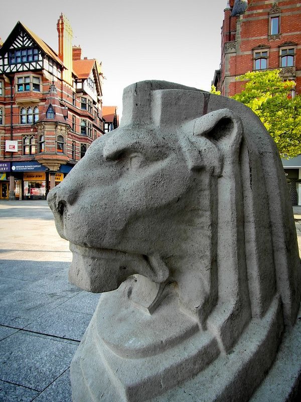 The Left Lion at the Council House, Old Market Square, Nottingham.