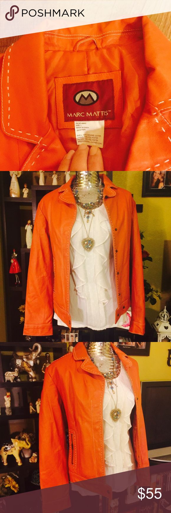 Marc MATTIS Genuine Leather Jacket Amazing quality Genuine leather jacket. Super trendy with white stitching all over. Perfect for layering, or putting over spaghetti straps for the office. Deep coral, or a burnt orange color, it's very pretty a RICH looking color. This jacket will last forever, it is made to be on trend but with impeccable quality. Definitely worth every dime. Retail $89,99 open to reasonable offers. Shirt is also for sale and can be included in this listing. Marc MATTIS…