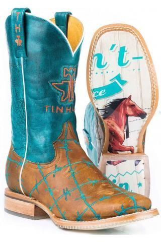 "Women's Tin Haul Barbed Wire ""Wild & Free"" Cowgirl Boots"