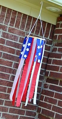 Patriotic windsock from crepe paper!