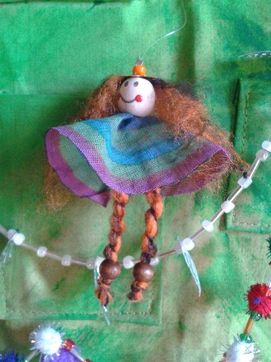 Close-up of one of the decorations - a ditzy little Christmas angel.