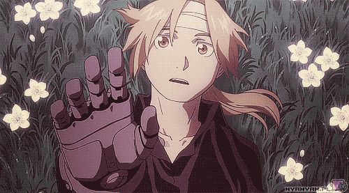 """Edward Elric #FMA I always think """"poor flower"""" but then im all like """"Oh yeah he never hurts the flower"""""""