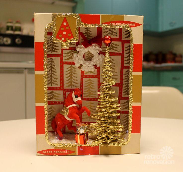 Homemade diorama made from a vintage Christmas ornament box - Pam