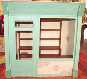 how to: miniature shop, shelves and counter. Will need to use google translate but this can be made with wood.