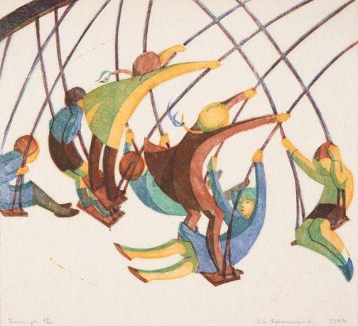 Colour linocut printed on thin ivory laid tissue- Swings by Ethel Spowers