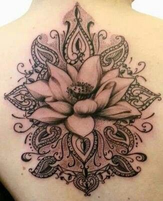 Grey Ink Lotus Flower Tattoo On Back