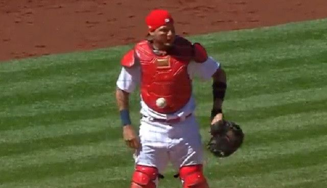 Ball Gets Mysteriously Stuck On Yadier Molina's Chest Protector During Cardinals-Cubs Game - http://viralfeels.com/ball-gets-mysteriously-stuck-on-yadier-molinas-chest-protector-during-cardinals-cubs-game/