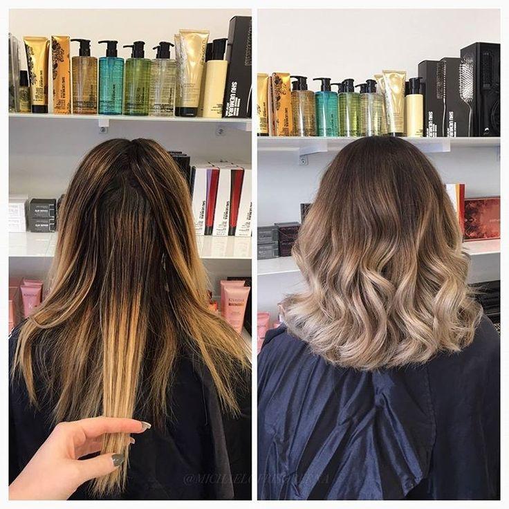 Kunden ville bli så ljus och kall som möjligt på längderna och samtidigt få en jämnare övergång från botten till de ljusa partierna. Vi bleker och tonar i olika steg för att få detta resultat!  #colorcorrection #olapex #ombrehair