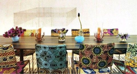 African print upholstered chairs