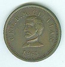 1863 Civil War Patriotic Token, General George B. Mcclellan