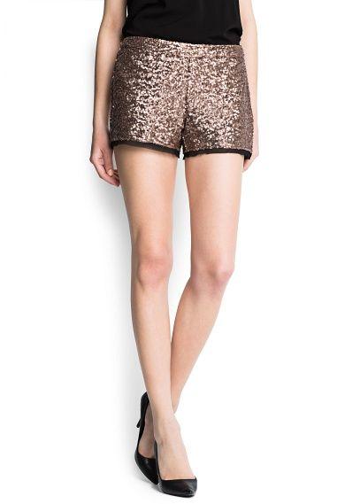 Chiffon hems sequined shorts