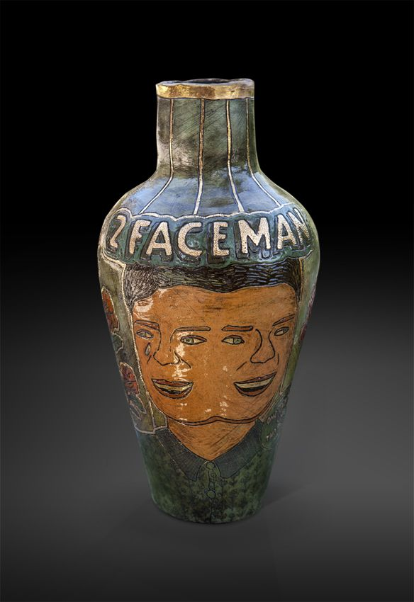 An original vase by Lucinda Mudge entitled: 2 Faceman, 2014, ceramic, h 56cm For more please visit: www.finearts.co.za